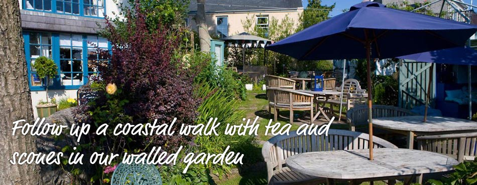 Follow up a coastal walk with tea and scones in our walled garden